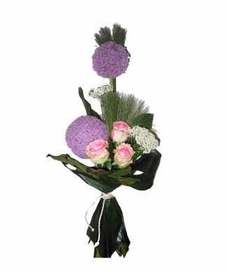 bouquet of pink roses and round chrysanthemums