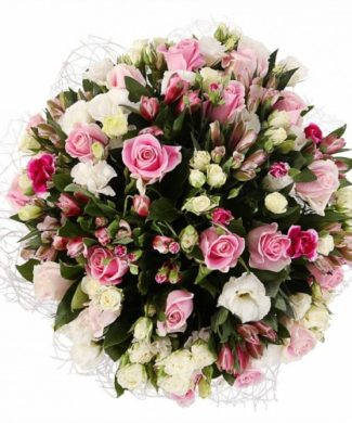 bouquet of of pink and white bush roses