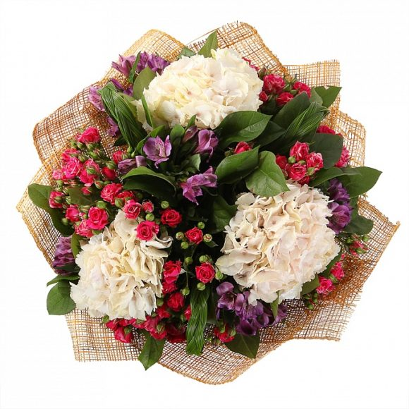 bouquet of pink alstromeria and white hyacinth
