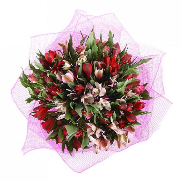 bouquet of white and red alstroemeria