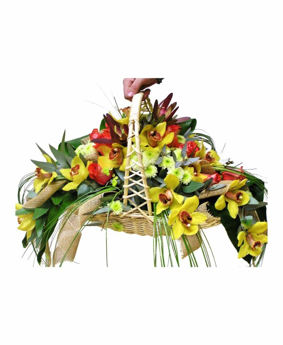 flowers basket of roses and yellow orchids