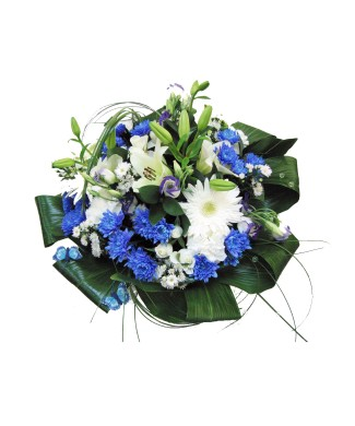 Bouquet of chamomile, white gerbera and blue chrysanthemum