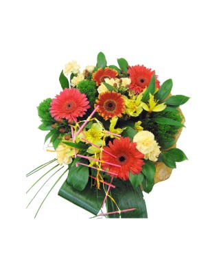 bouquet of two kinds of gerberas, yellow orchids and cream carnations