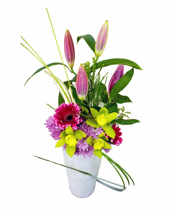 corporate flowers arrangement of gerberas, orchids and lillies
