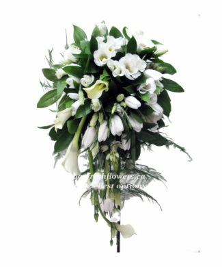 bridal bouquet of callas and white tulips