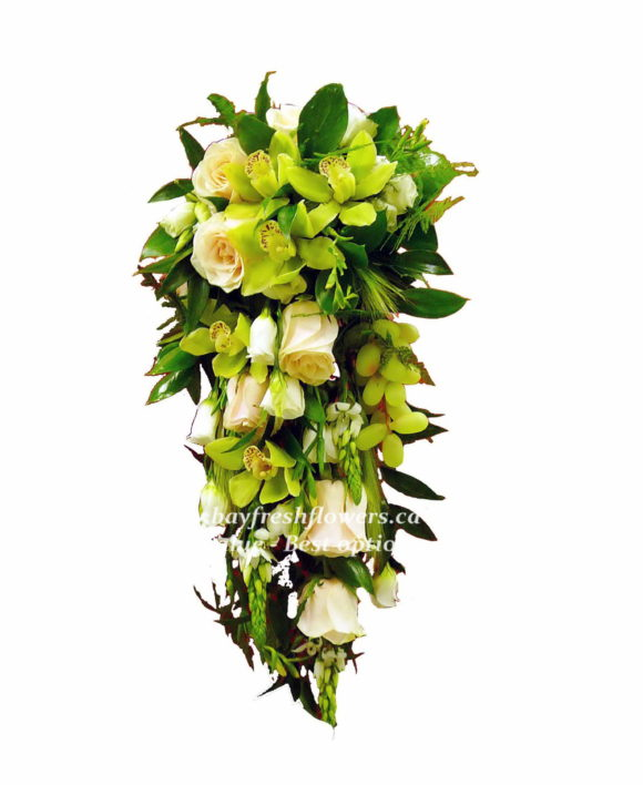 bridal bouquet of roses and green orchids