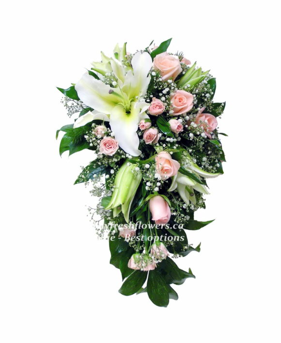 wedding bouquet of bush roses and lilies with greens and gypsophila