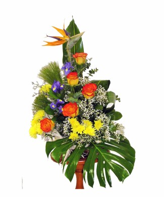corporate flowers arrangement of orrange-yellow roses and strelizia