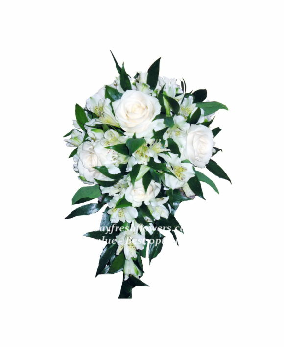 bridal bouquet of white roses and orchids