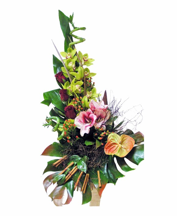 corporate flowers arrangement of dark roses, green orchids and anthurium