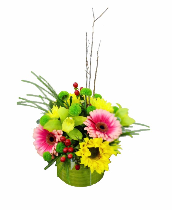 corporate flowers of pink gerberas and sunflowers