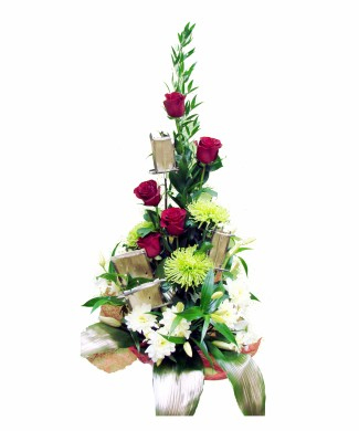 corporate flowers arrangement of dark red roses