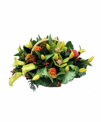 bouquet of roses, tulips, callas and orchids
