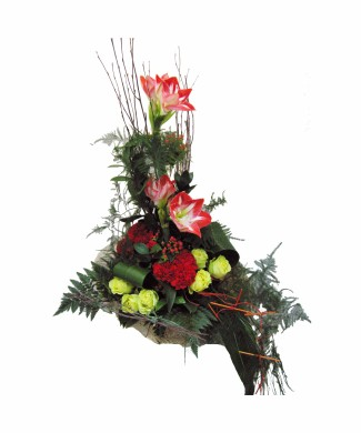 bouquet of ammarilis, roses and carnations