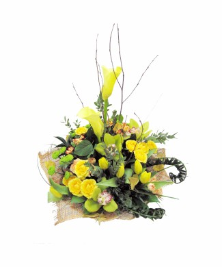 corporate arrangement of calla, bush rose, orchid, tulip, chrysanthemum