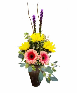 corporate flowers - bouquet of sunflowers, gerberas and lyatris
