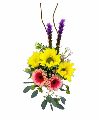 corporate floral arragement of sunflowers and gerberas