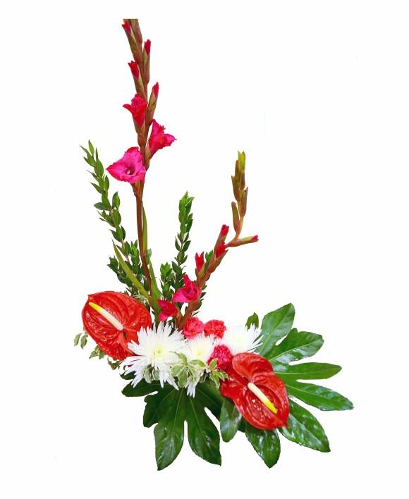 corpotate flowers: red calla, anthurium and white chrysanthemum