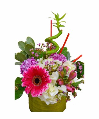 corporate table centerpiece of gerbers, hydrangea with bamboo