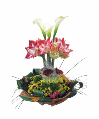 corporate flower arragement of callas, amaryllis and gerberas