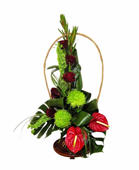 corporate flowers arrangement of roses and anthurium