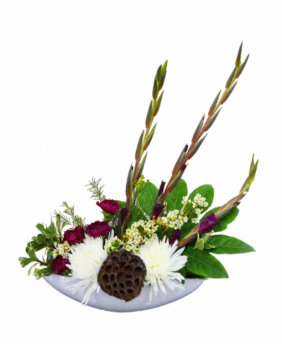 corporate flowers arrangement of white chrysantemums