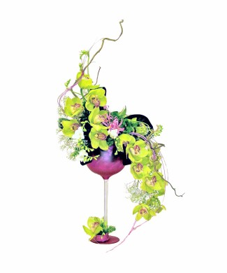 bouquet in the glass of orchids