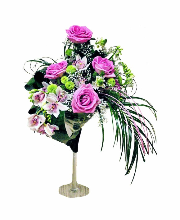 bouquet of purple roses and orchids