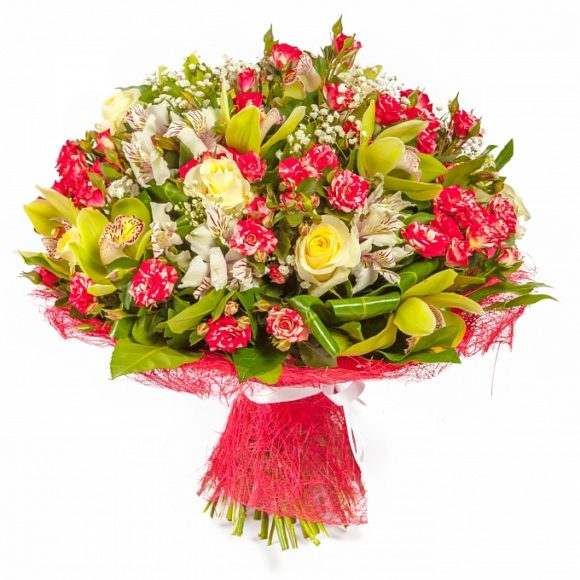 bouquet of different types of roses, and orchids