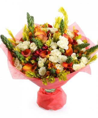 bouquet of roses, alstroemerias and calla