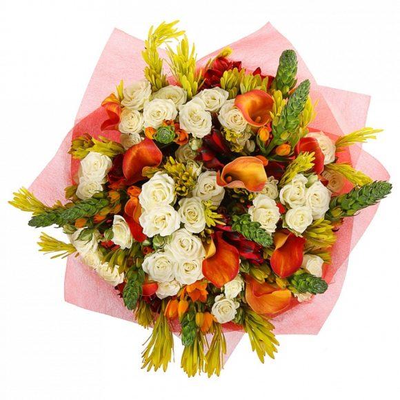 bouquet of roses, alstroemerias and calla
