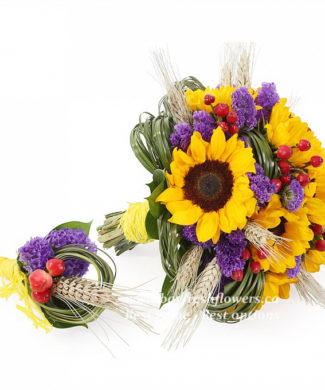 bouquet for wedding of sunflowers and hypericum