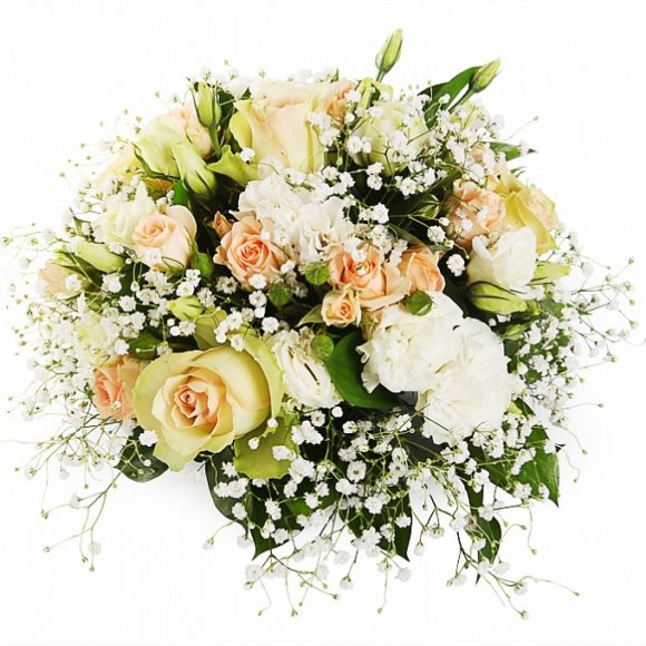 bouquet of white and cream roses, gypsophila and eustoma