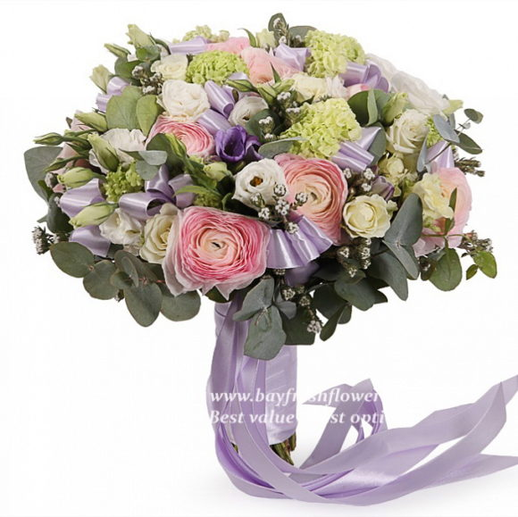 bouquet for wedding of roses, eustoma, freesia and ranunculus