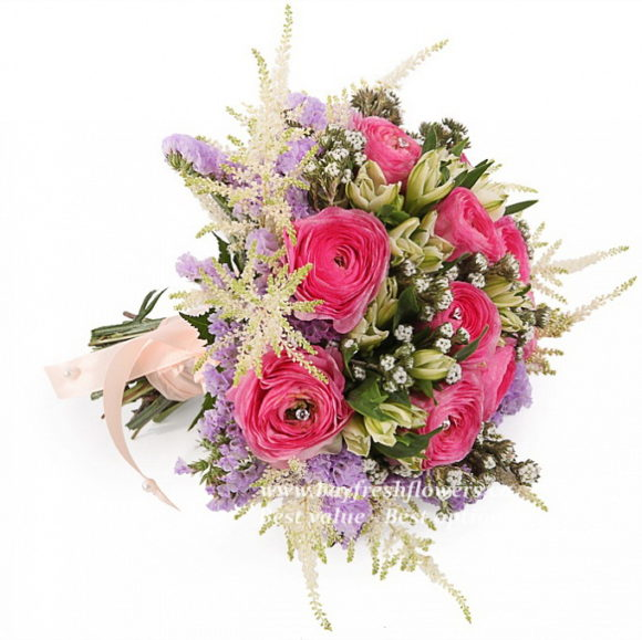 bouquet for wedding with pink roses and alstroemeria
