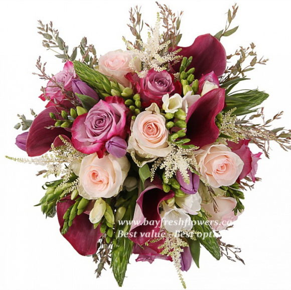 bouquet for wedding of pink and cream roses, tulips and callas