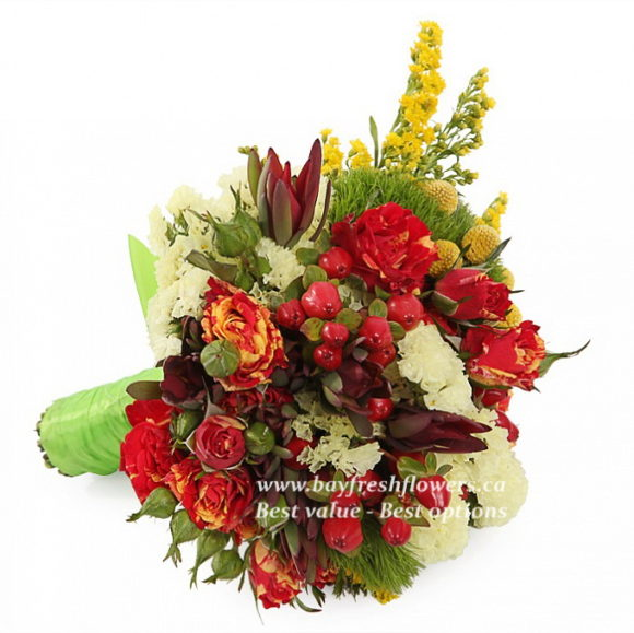 bouquet for wedding of roses and hypericum