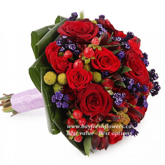 bouquet for wedding of roses, alstroemeria