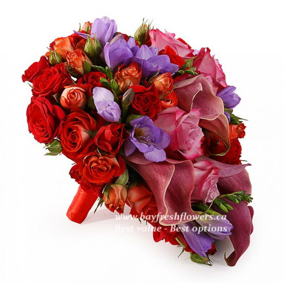 bouquet for wedding of roses, calla and freesia