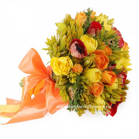 bouquet for wedding of narcissus, anemone and roses