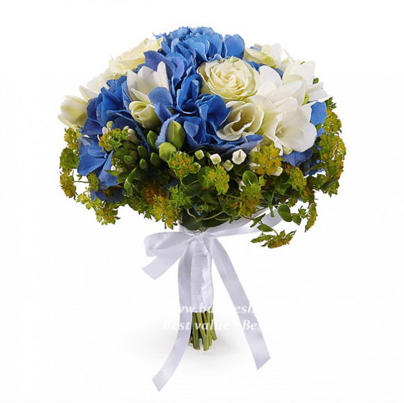 bouquet for wedding of peonies, hydrangeas and freesia