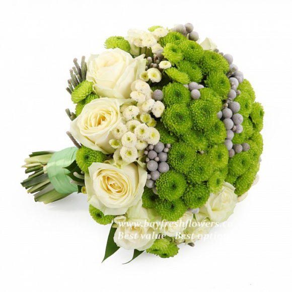 bouquet for wedding of chamomile, roses and chrysanthemums