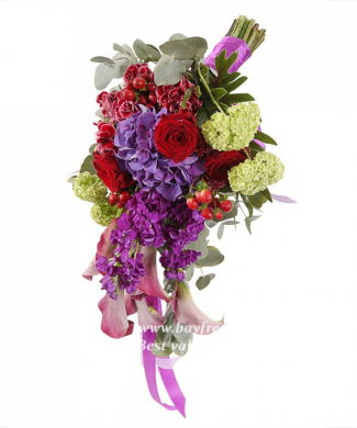 bouquet for wedding of hypericum, calla, roses, hydrangeas, carnations, mattiola