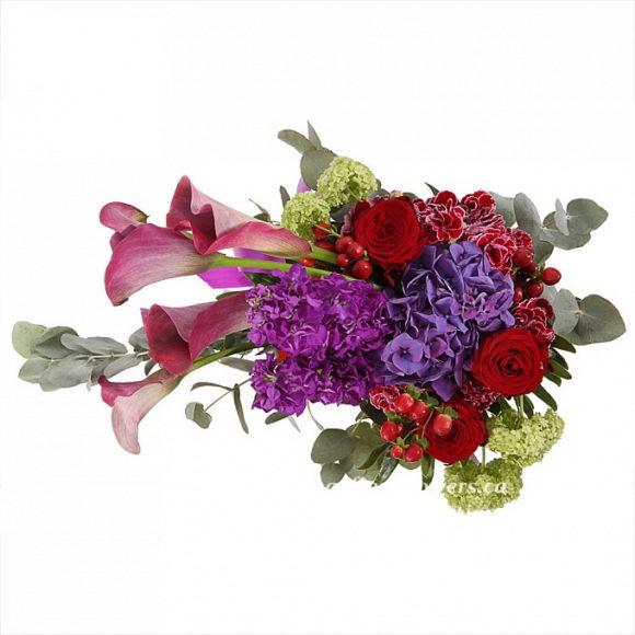 bouquet for wedding of hypericum, calla, roses, hydrangeas, carnations, mattiola