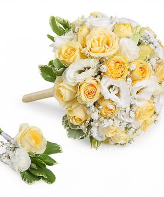 bridal bouquet of yellow cream roses and eustoma
