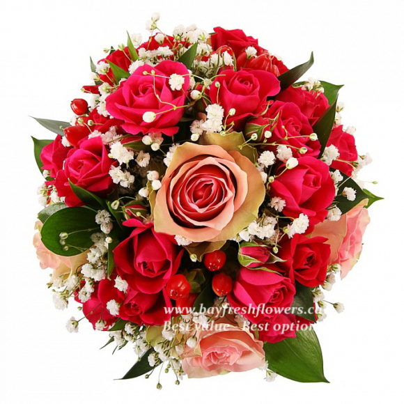bouquet for wedding of red and pink roses