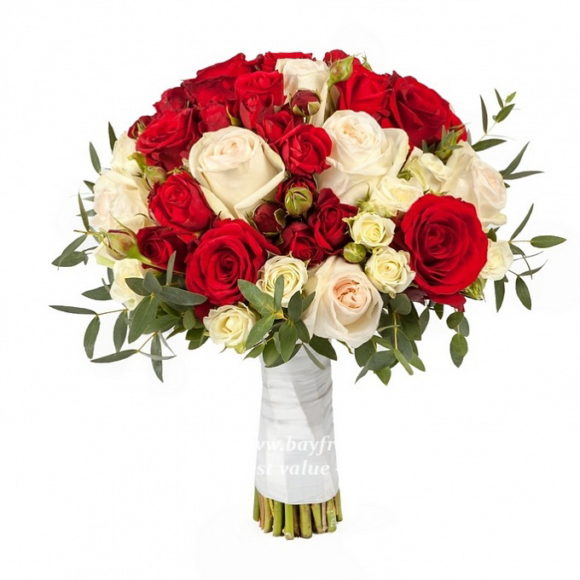 bouquet for wedding of red and white roses