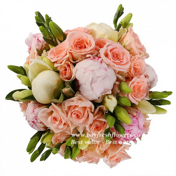 bouquet for wedding of pink roses and peony