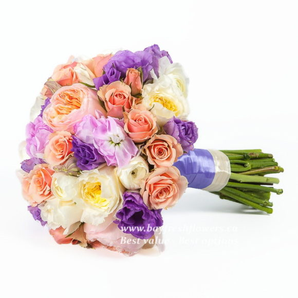 bouquet for wedding of matiol, pion-like roses and scabios