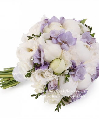 bouquet for wedding of peonies, freesius and eustoma